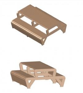 3D-tekeningen van de picknicktafel