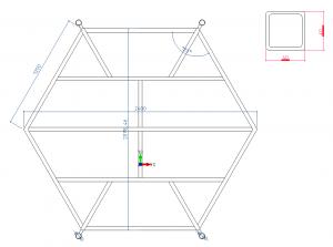Fig. 9: Het metalen frame met de 4 ogen voor een makkelijker transport.